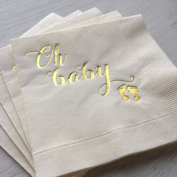 Baby Shower, Baby Girl, Baby Boy, Gender Neutral Baby Sprinkle, Baptism Party, Gold Foil Napkin, Baby Shower Napkin, Neutral Baby Shower by EatCoutureCupcakes