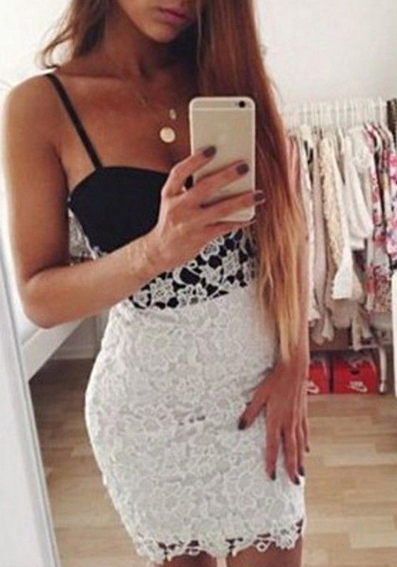 Lace black and white bodycon dress
