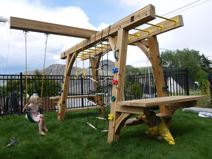 Play structure for kids made out of Western Red Cedar timber.