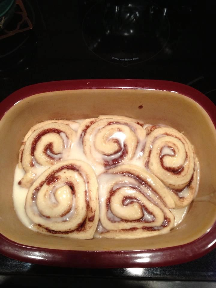 Simply put your Pillsbury cinnamon rolls in your pampered chef deep covered baker and microwave uncovered 4 minutes and poof! Heat up the icing, pour over rolls and serve.