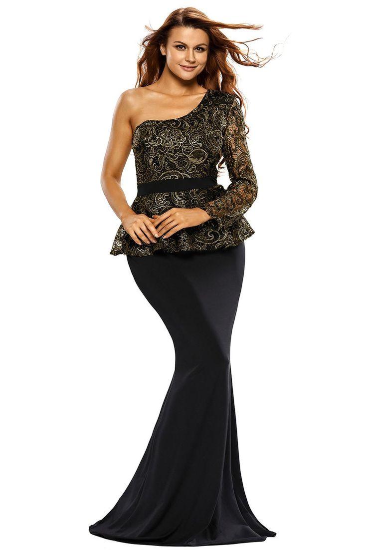 Black One Shoulder Gold Floral Lace Peplum Top Long Skirt Formal Dresses modeshe.com