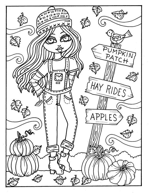 7 PAGES FALL Girls Digital Coloring pages digi, color page, instant ...
