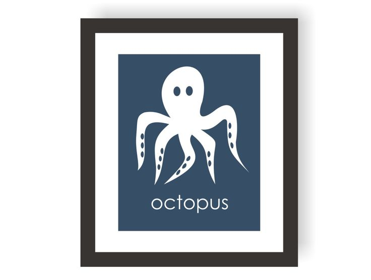 Octopus Wall Art, Modern Nautical, Marine Animals, Under The Sea Nursery, Ocean Wall Art, Sea Bedroom Theme, Kids Wall Art, Coastal Baby by twowhiteowls on Etsy https://www.etsy.com/listing/117176701/octopus-wall-art-modern-nautical-marine