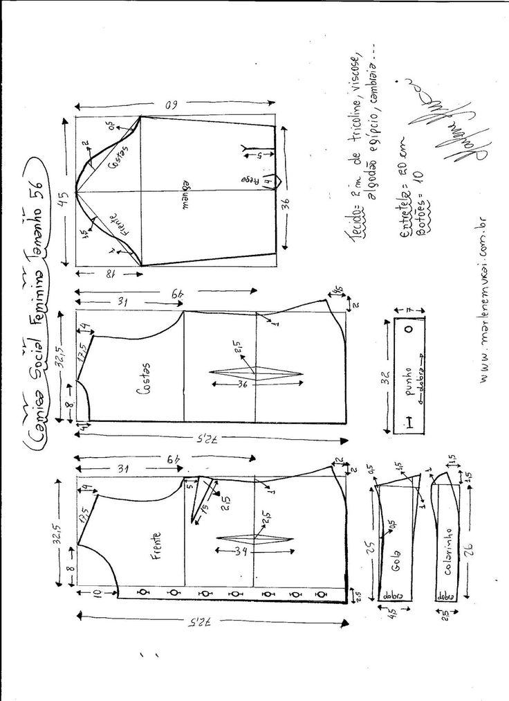 Patrón Camisa entallada, se puedecombinar con look casual, deportivo o social. Los tejidos entre otros que se puede utilizar, popelín de algodón, poliéster, seda, muselina y satén de seda. Tallas desde la 36 hasta la 56. Talla 36: Talla 38: Talla 40: Talla 42: Talla 44: Talla 46: Talla 48: Talla 50: Talla …