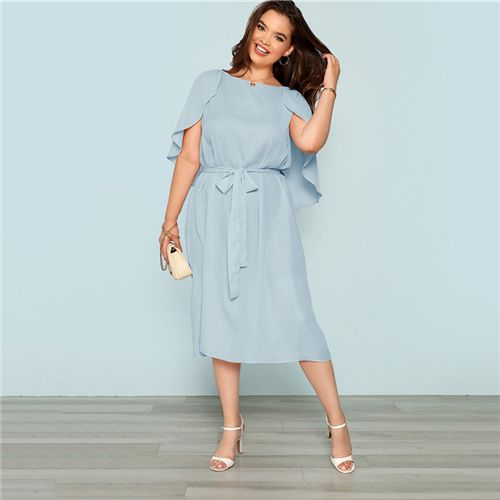 Plus Size Flutter Sleeve Blue Dress Women Summer Casual Belted Straight Dresses Ladies Solid Midi Dress Color Blue Size L