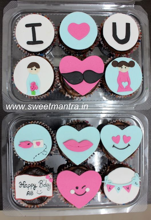 Love theme customized designer cupcakes for hubby's birthday at Pune