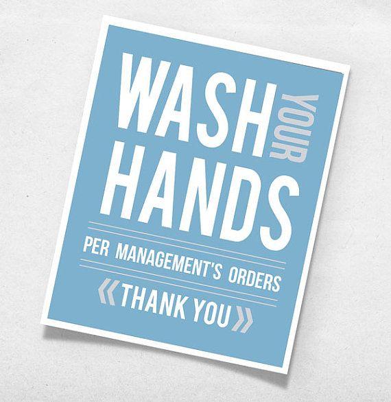 Wash Your Hands Per Management's Order Bathroom Modern Art Print Wall Poster Room - 8x10 -  Custom Color Decor 8x10 Funny