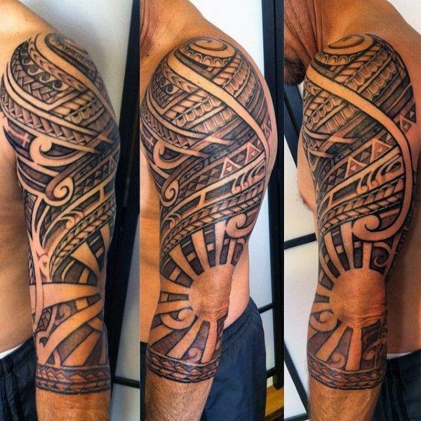 Polynesian Tribal Half Sleeve Tattoo With Negative Space Sun Design Polynesian Tattoo Designs Sun Tattoo Designs Black Sleeve Tattoo