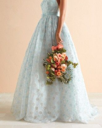 """See the """"Floral Fashion"""" in our 10 Reasons to Consider Cornflower Blue and Melon for Your Wedding Color Scheme gallery"""