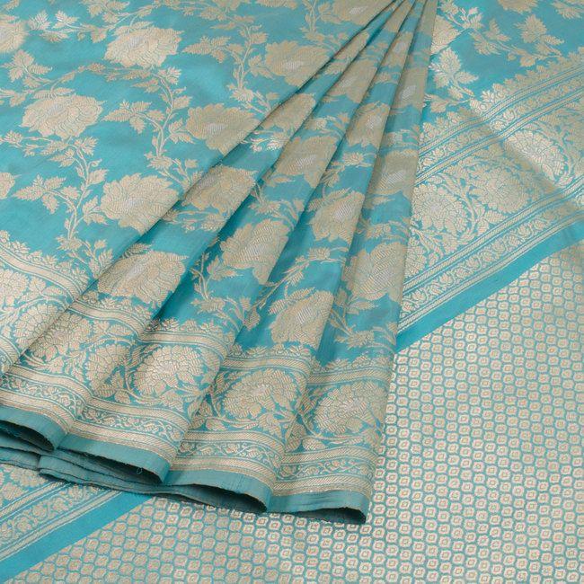Buy online Handwoven Blue Kadhwa Banarasi Katan Silk Saree With Jangla Design 10013069
