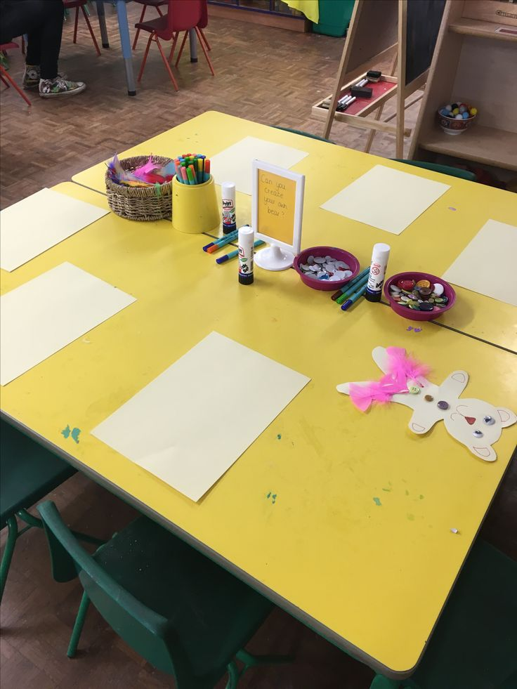 Making teddy bears for bunting - creative table