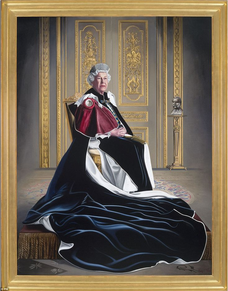 A striking new portrait of the Queen clad in her garter robes has been unveiled to celebrate her six decades as a patron of the Red Cross. The monarch unveiled the portrait on Fridayat Windsor Castle