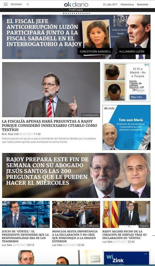 Portadas de periódicos digitales. ¿Como prepara Rajoy su declaración de la semana que viene ante la Audiencia por financiación ilegal del PP?