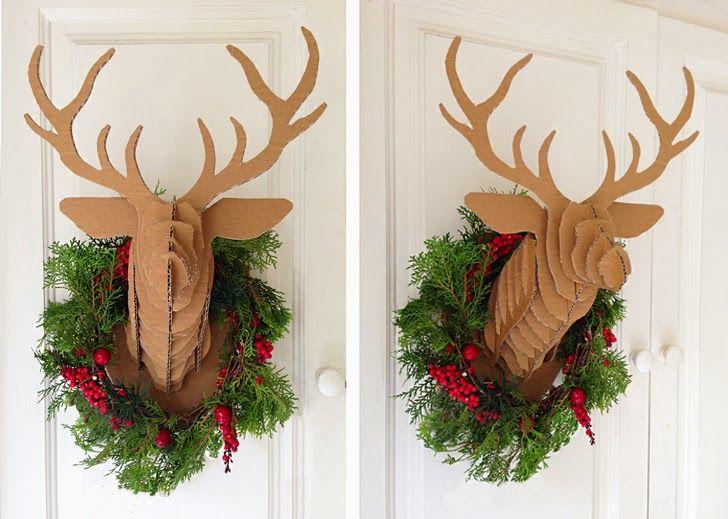 DIY Cardboard Christmas Deer Head by Mumaroo