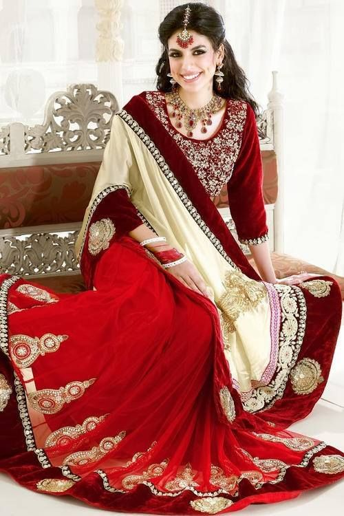 Choose to be an ethnic beauty with designer Cream & Maroon Colour Satin Saree!! Buy Now @ Ethnicstation.com http://ethnicstation.com/shop/catalog/product/view/id/4924/s/cream-maroon-colour-satin-saree/category/38/