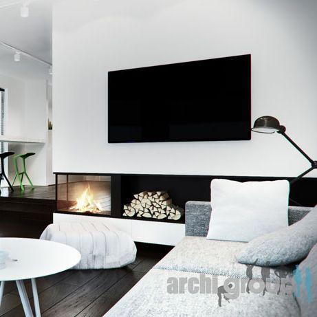 Living room design POLAND - archi group. Pokój dzienny w domu jednorodzinnym.