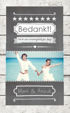 Kaartmix trouwkaarten bedankt kaartje hout krijt foto crayon makkelijk aanpasbaar