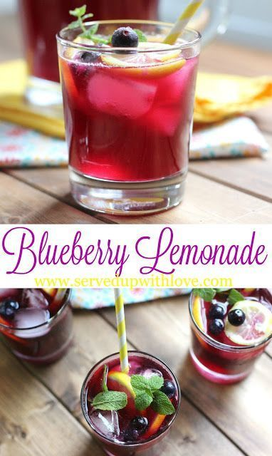 Blueberry Lemonade recipe from Served Up With Love. The perfect taste of summer in a glass.