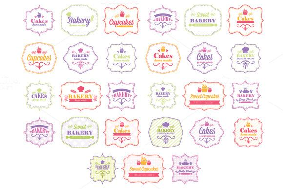 Vintage bakery labels by UVAconcept on @creativemarket