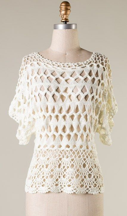 Crochet Lonny Top in Ivory  Wish i could do something like this! This is absolutely gorgeous!