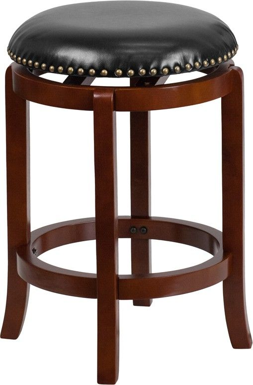 24'' Backless Light Cherry Wood Counter Height Stool with Black Leather Swivel Seat