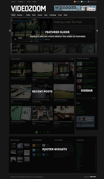 Tema wordpress gratis VideoZoom video blogs magazines