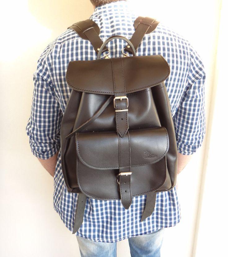 Twininas Genuine Greek Black Leather Unisex Medium size Backpack Bag