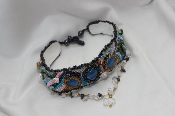 Beaded Embroidery with glass cabochon & semi-precious stone .