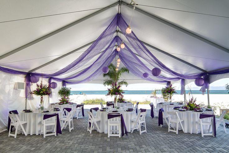 Purple + White Tented Wedding Reception