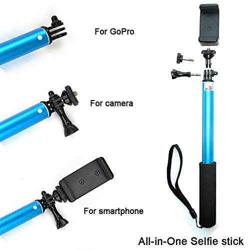 "Ace3C 39"" Ultimate Monopod All-in-One Selfie Stick for GoPro Camera, Sony Action Cam, Cell Phone & Digital Camera. Including GoPro HD Hero 4 3+ 3 2 Hero, Sony Action Cam HDR AS15 AS30V AS100VR AS100V AZ1VR AZ1, SJ4000, iPhone 6 (Plus) 5S 5C 5 4S 4 ipod, Samsung Galaxy S6 S5 S4 S3 S2, Note 4 3 2, LG G3 G2, Motorola, HTC, Sony, Nokia, Canon Nikon Sony Panasonic Olympus and More (Sky Blue)"