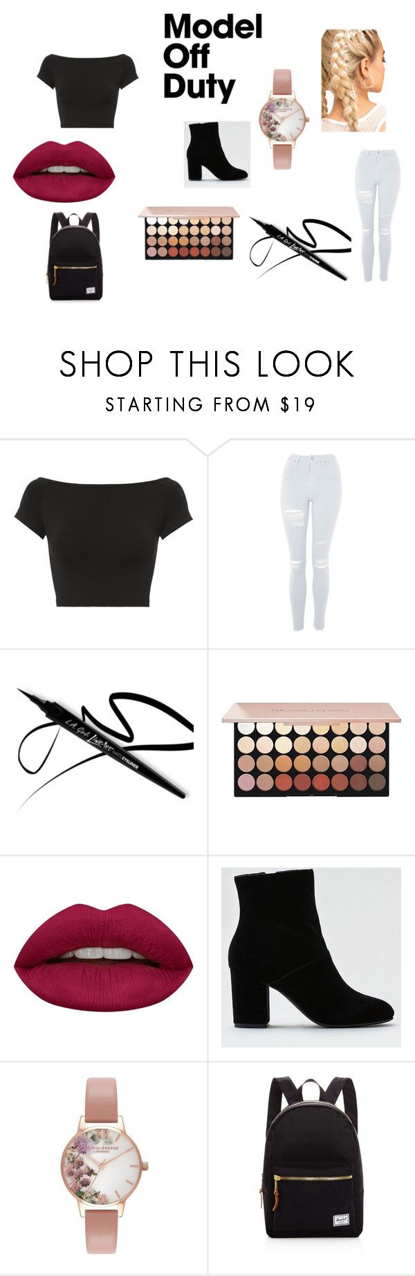 """""""Model Off Duty"""" by harleyquinn-dcc ❤ liked on Polyvore featuring Helmut Lang, Topshop, Huda Beauty, American Eagle Outfitters, Olivia Burton, Herschel Supply Co. and modeloffduty"""