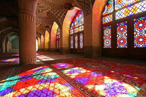 stainglassShiraz Iran, Mosques, Stainedglass, Glasses Tile, Rainbows Colors, Stained Glasses Windows, Islam Architecture, Glasses Doors, Colors Glasses