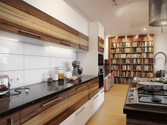 moderne Küche holzfurnier fronten weiß kochinsel