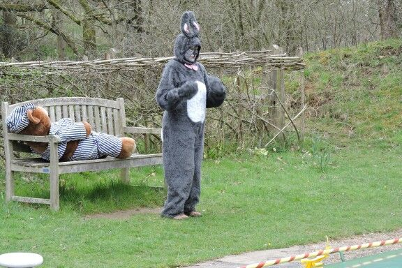 Easter Bunny at the Wey and Arun Canal Easter Bunny cruises in Loxwood, West Sussex.