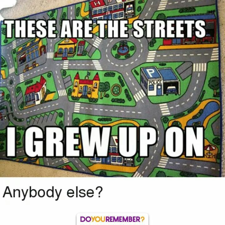 We had one not quite like this one but the hours spent playing cars with my brother on that rug that I can never get back!!
