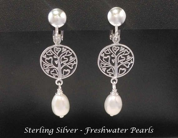 Clip On Earrings: Beautiful Pearls on these Tree of Life Sterling Silver Clip On Earrings | Pearl Earrings, Gifts for Women, Gift Idea from www.mothersdayaustralia.net.au and https://www.etsy.com/shop/EarringsArtisan #cliponearrings #earrings #silverearrings #clipon #giftsforwomen #mothersday #mothersdaygiftideas #jewelry #jewellery