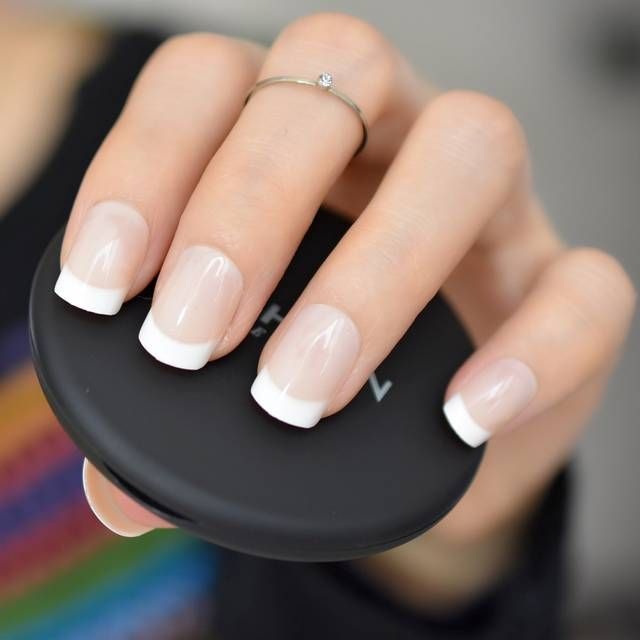 Classical Natural French Nail Super Real White Tip Fake Nails With Glue Sticker Office Lady Must Diy Natural French Nails Fake Nails With Glue Artificial Nails