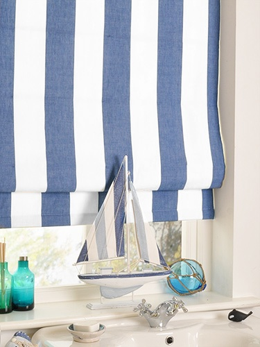 Amelie Delft Blue Roman Blind - perfect for a nautical themed bedroom!  Love it!