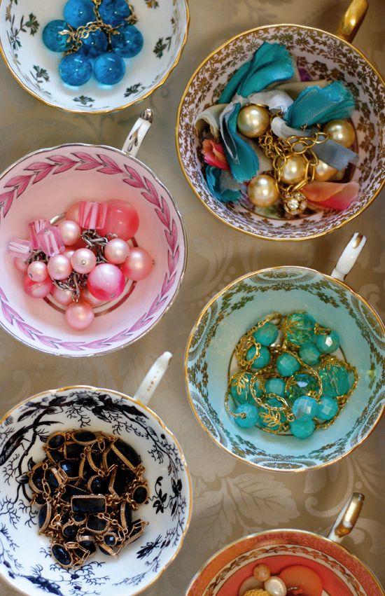 Vintage Tea Saucers used to hold jewelry.