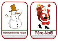 imagier de Noël Père-Noël et bonhomme de neige