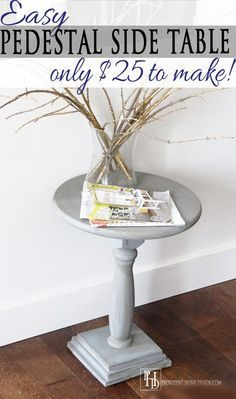 I love the look of pedestal tables. Come learn how easy and inexpensive this DIY pedestal side table is to make! building furniture building projects