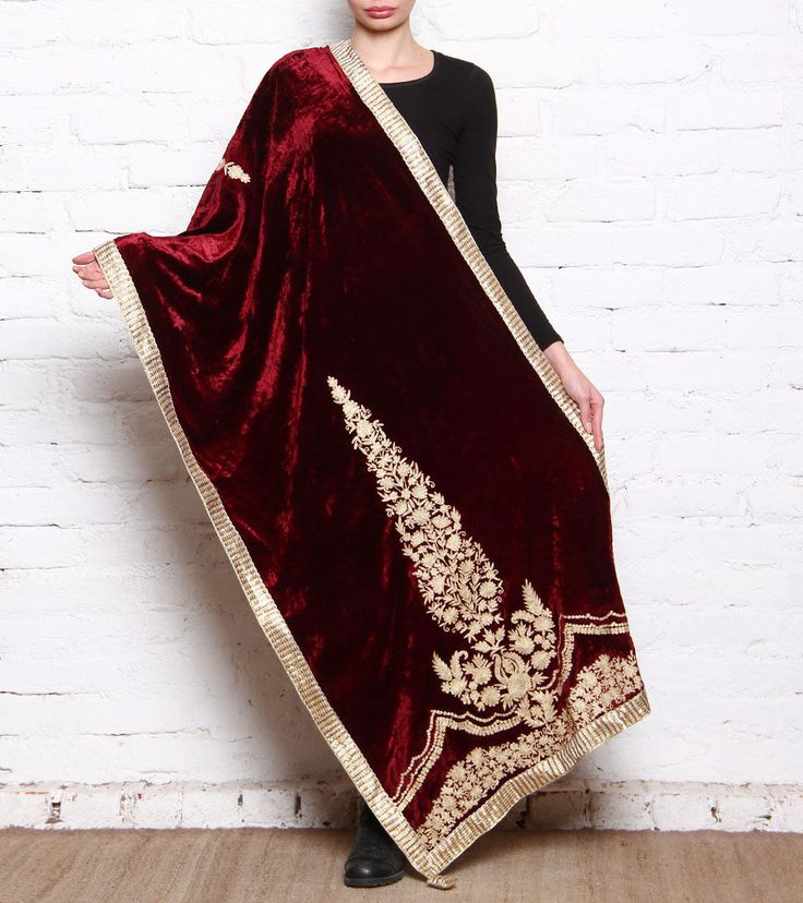 Wine & Golden Suede Velvet Dupatta With Tilla Work