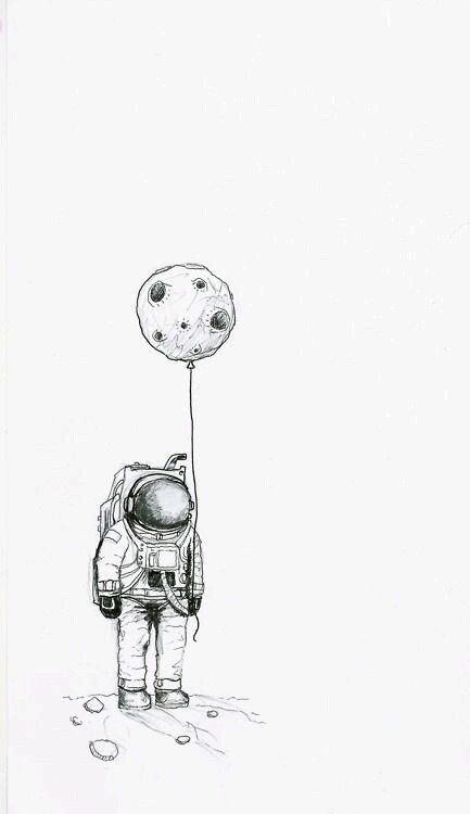 moon, astronaut, and drawing