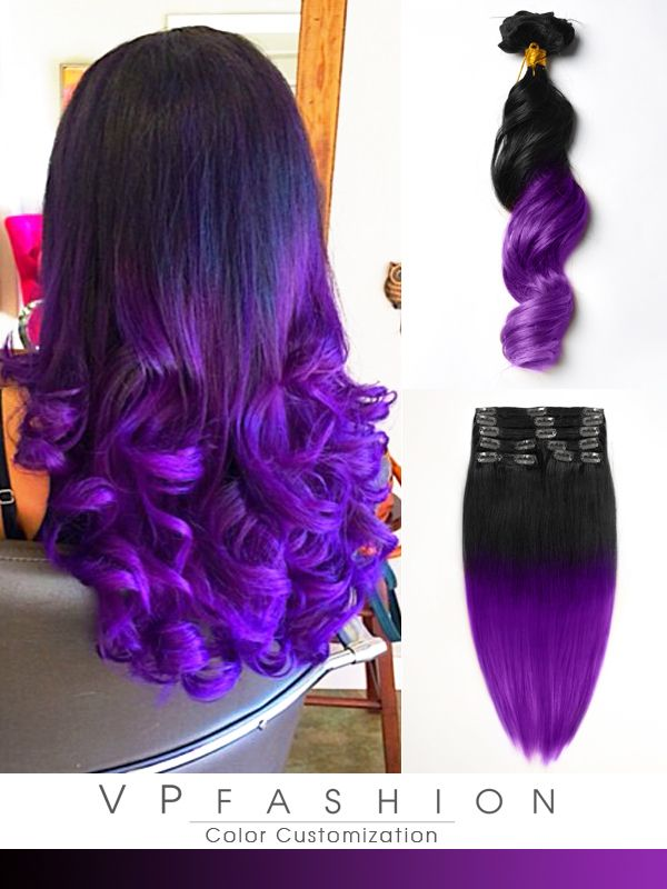 stefani picchi black to dark purple mermaid colorful ombre indian remy clip in hair extensions-c023