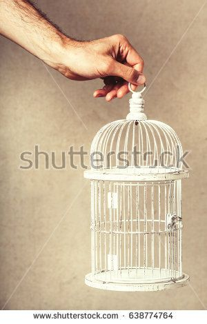 Hand holding an empty cage. Absence of ideas and dreams. Freedom and hope. An arm of a man holding a white cage with nothing inside.