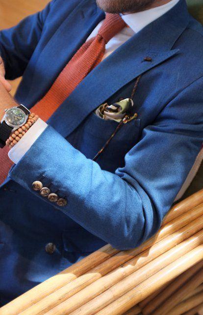 Boyfriend's Closet: Blue and orange hues. great combo! #menswear #blazer #tie