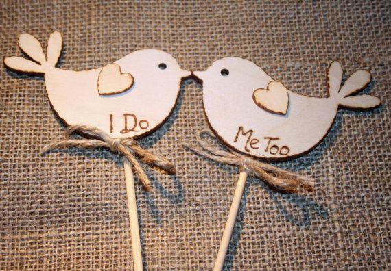 I Do MeToo / Bird Cake Topper / Rustic Cake Topper / Personalised Topper / Spring Wedding on Etsy, $13.53
