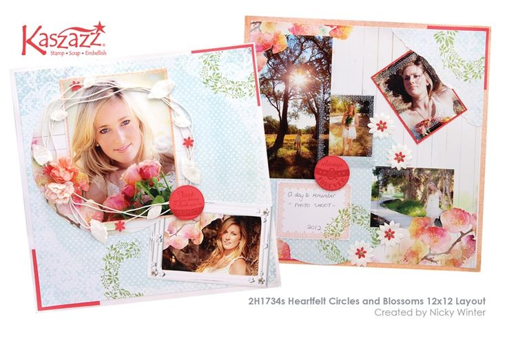 2H1734s Heartfelt Circles and Blossoms 12x12 Layout
