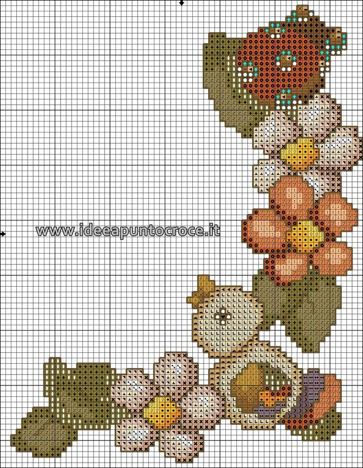 schema punto croce bordura fiori Thun