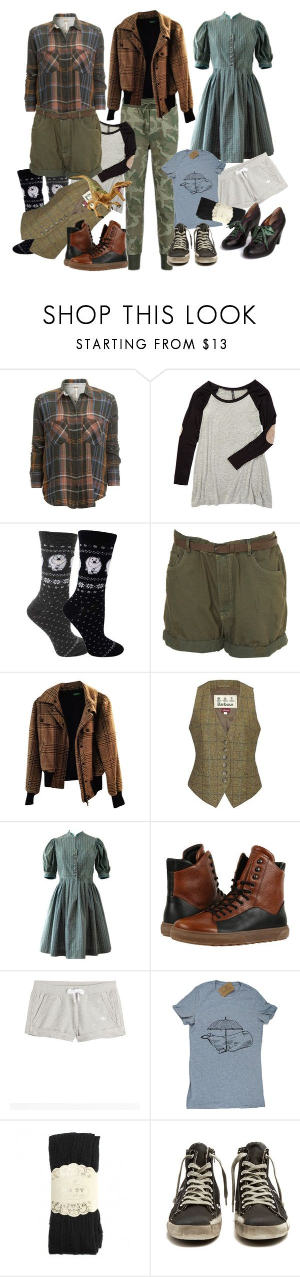 """""""Steam Casual"""" by amanda-anda-panda ❤ liked on Polyvore featuring Free People, Magic Fit, Benetton, Barbour, HOOD Rubber Company, adidas Originals, Poetic Licence and Golden Goose"""